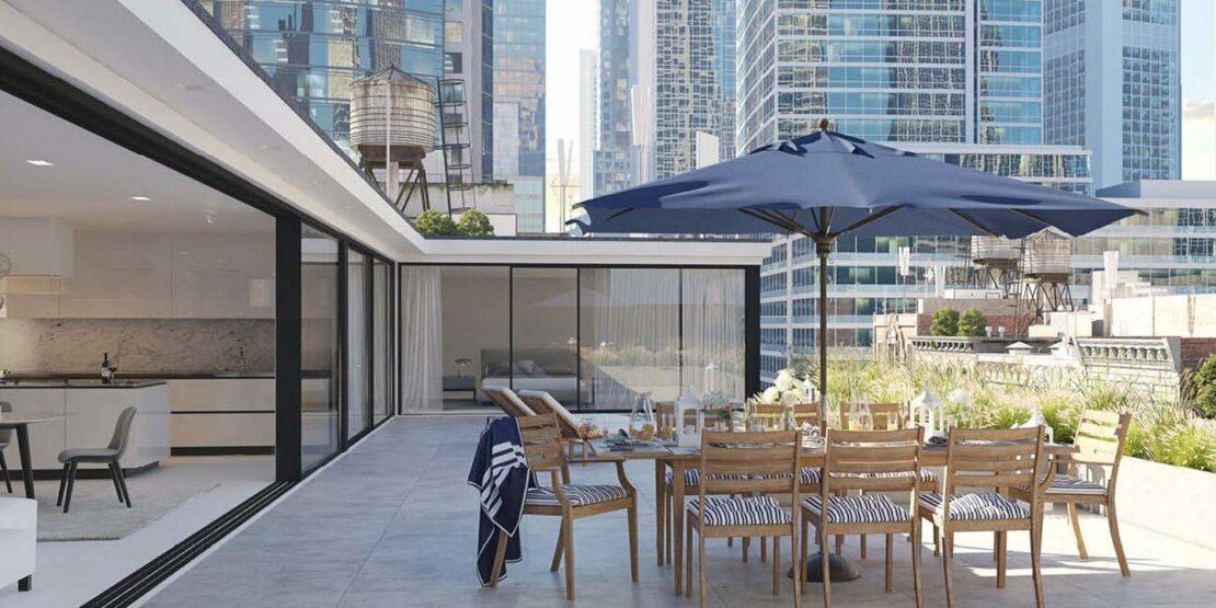 Terrasse einer Penthouse-Wohnung