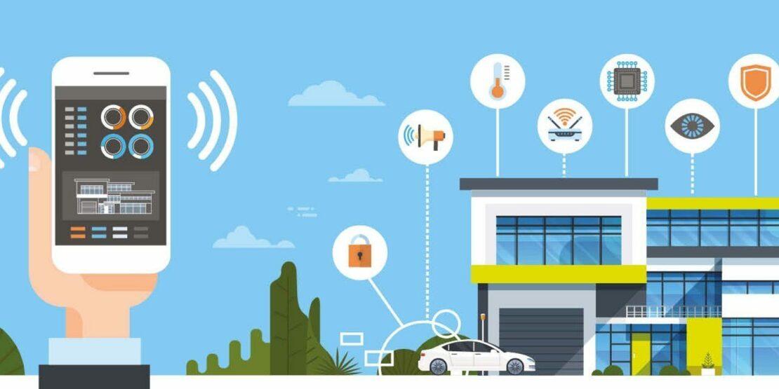 Symbolhaftes Smart Home, gesteuert von einem Handy aus