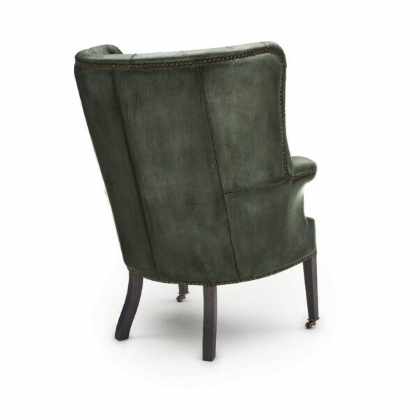 """WK Wohnen """"5001"""" Armlehnensessel mit Lederbezug Buffalo in der Farbe British Green glänzend in Rückansicht."""
