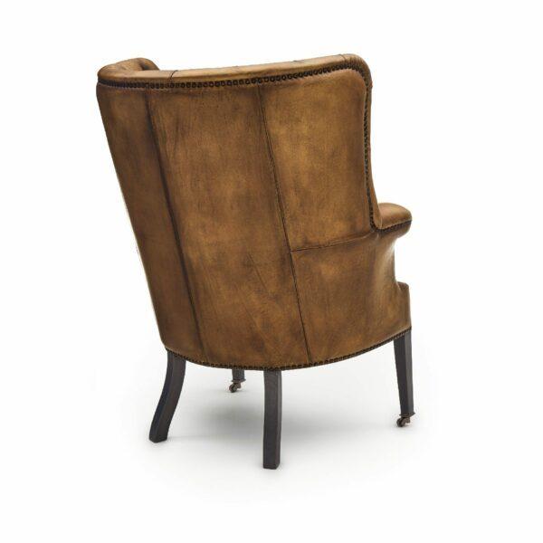 """WK Wohnen """"5001"""" Armlehnensessel mit Lederbezug Buffalo in der Farbe Light Brown glänzend in Rückansicht."""