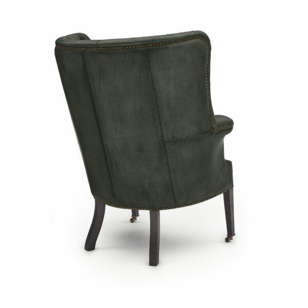 """WK Wohnen """"5001"""" Armlehnensessel mit Lederbezug Buffalo in der Farbe British Green matt in Rückansicht."""