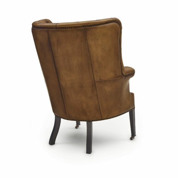 """WK Wohnen """"5001"""" Armlehnensessel mit Lederbezug Buffalo in der Farbe Light Brown matt in Rückansicht."""
