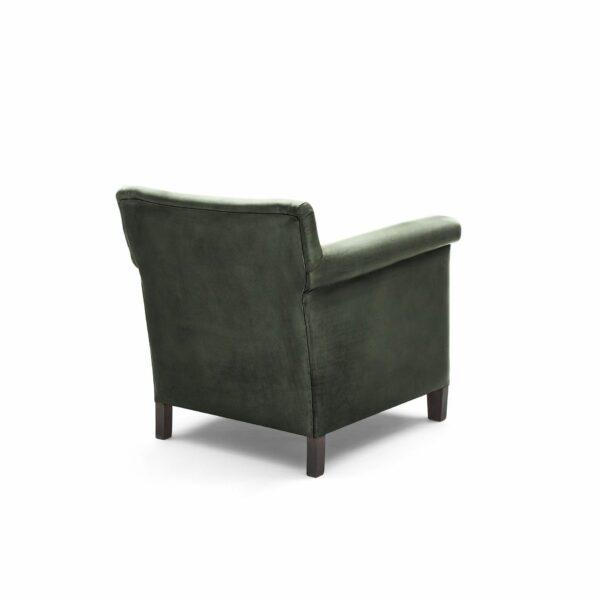 """WK Wohnen """"5002"""" Armlehnenstuhl mit Lederbezug Buffalo in der Farbe British Green glänzend in Rückansicht."""