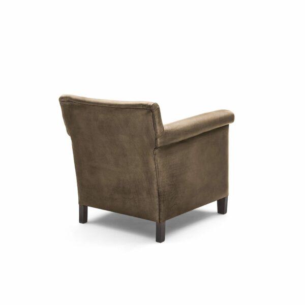 """WK Wohnen """"5002"""" Armlehnenstuhl mit Lederbezug Buffalo in der Farbe Lampre glänzend in Rückansicht."""