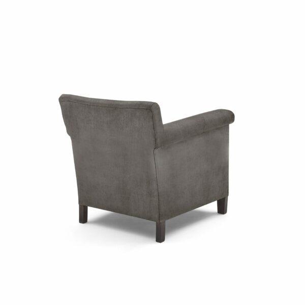 """WK Wohnen """"5002"""" Armlehnenstuhl mit Bezug Textilgewebe Velvet in der Farbe Anthrazit in Rückansicht."""