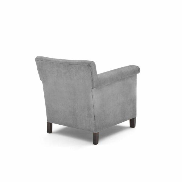 """WK Wohnen """"5002"""" Armlehnenstuhl mit Bezug Textilgewebe Velvet in der Farbe Dolphine in Rückansicht."""