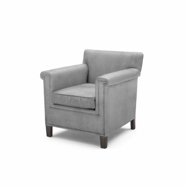 """WK Wohnen """"5002"""" Armlehnenstuhl mit Bezug Textilgewebe Velvet in der Farbe Dolphine in seitlicher Ansicht."""