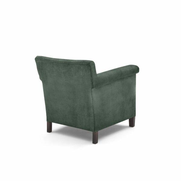"""WK Wohnen """"5002"""" Armlehnenstuhl mit Bezug Textilgewebe Velvet in der Farbe Niagara in Rückansicht."""