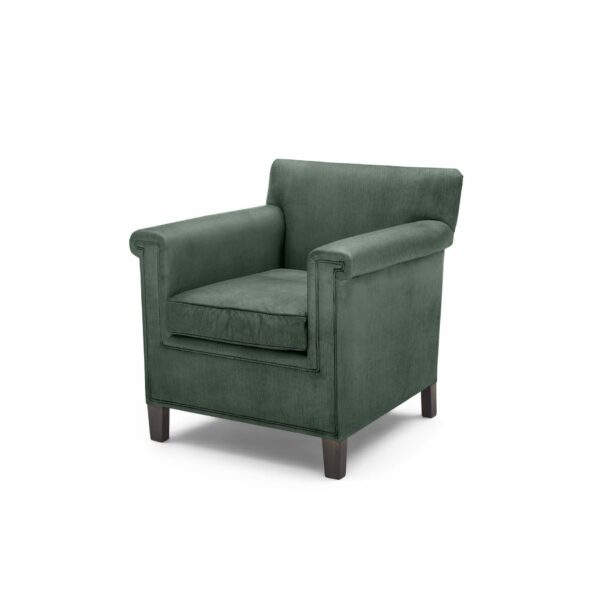 """WK Wohnen """"5002"""" Armlehnenstuhl mit Bezug Textilgewebe Velvet in der Farbe Niagara in seitlicher Ansicht."""