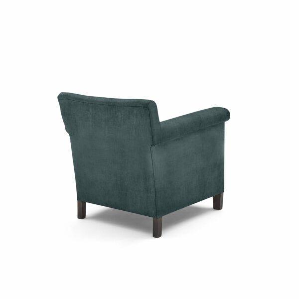 """WK Wohnen """"5002"""" Armlehnenstuhl mit Bezug Textilgewebe Velvet in der Farbe Petrol in Rückansicht."""
