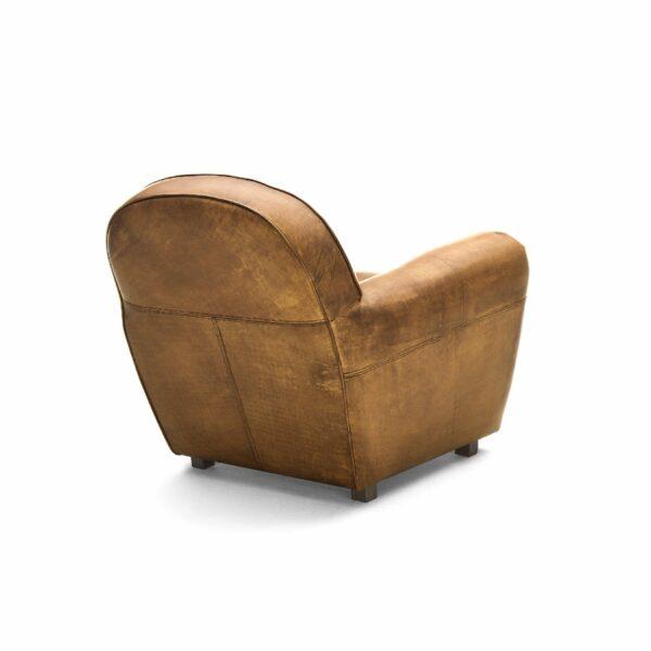 """WK Wohnen """"5003"""" Armlehnensessel mit Lederbezug Buffalo in der Farbe Light Brown glänzend in Rückansicht."""