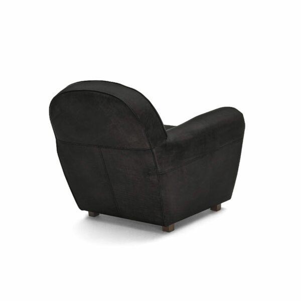 """WK Wohnen """"5003"""" Armlehnensessel mit Lederbezug Buffalo in der Farbe Black matt in Rückansicht."""