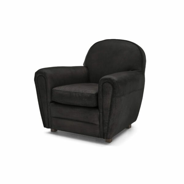 """WK Wohnen """"5003"""" Armlehnensessel mit Lederbezug Buffalo in der Farbe Black matt in seitlicher Ansicht."""