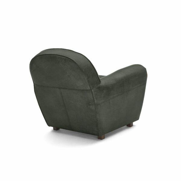 """WK Wohnen """"5003"""" Armlehnensessel mit Lederbezug Buffalo in der Farbe British Green matt in Rückansicht."""
