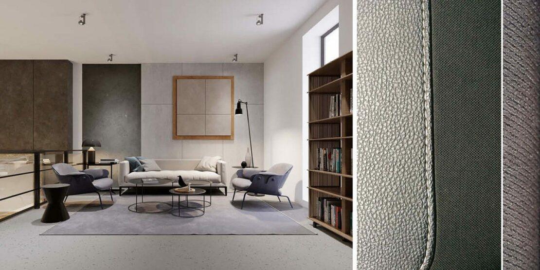 Wohnzimmer sowie Beispielmaterialien
