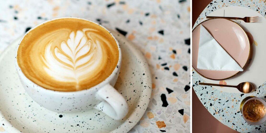 Kaffeetisch und Kaffeegedeck in Terrazzo