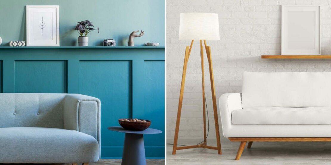 Ein blaues und ein weißes Wohnzimmer