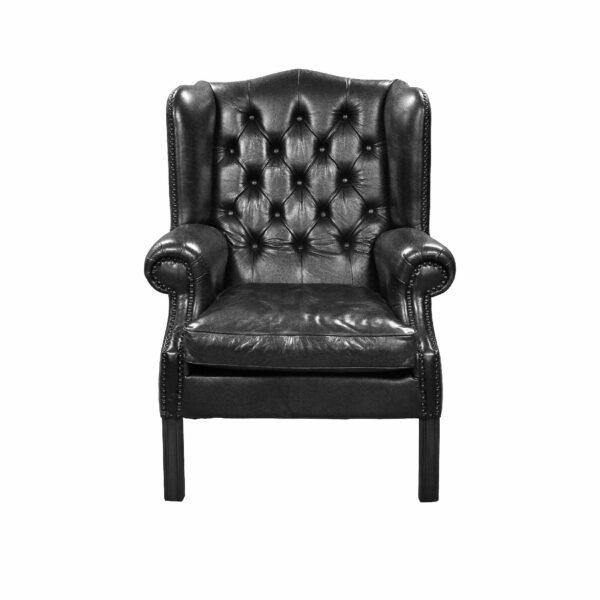 """WK Wohnen """"5005"""" Armlehnensessel mit Lederbezug Buffalo in der Farbe Black glänzend in frontaler Ansicht."""