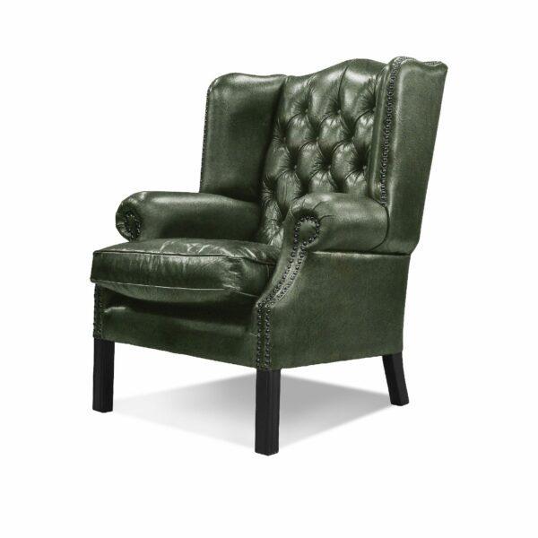 """WK Wohnen """"5005"""" Armlehnensessel mit Lederbezug Buffalo in der Farbe British Green glänzend in seitlicher Ansicht."""