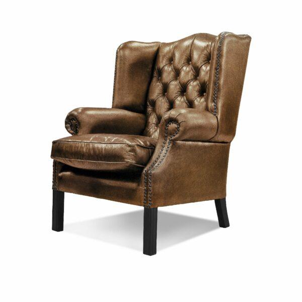 """WK Wohnen """"5005"""" Armlehnensessel mit Lederbezug Buffalo in der Farbe Light Brown glänzend in seitlicher Ansicht."""
