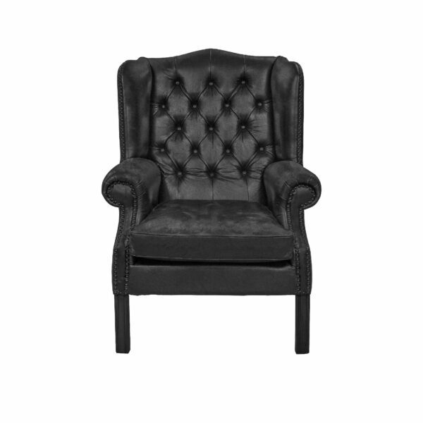 """WK Wohnen """"5005"""" Armlehnensessel mit Lederbezug Buffalo in der Farbe Black matt in frontaler Ansicht."""