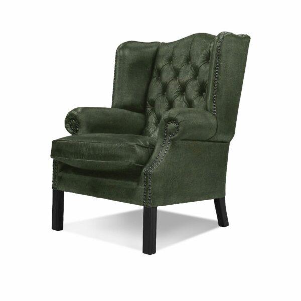 """WK Wohnen """"5005"""" Armlehnensessel mit Lederbezug Buffalo in der Farbe British Green matt in seitlicher Ansicht."""