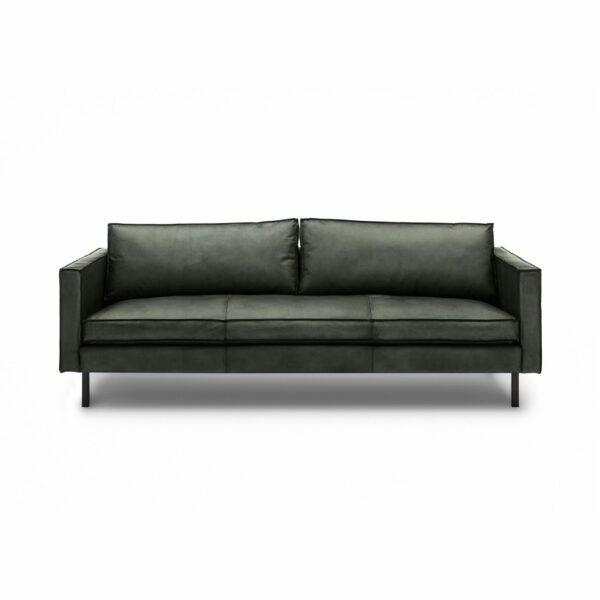 WK Wohnen Edition 6001 Sofa mit Bezug Leder Buffalo glänzend in der Farbe British Green in frontaler Ansicht.