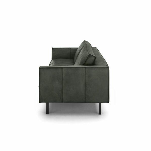 WK Wohnen Edition 6001 Sofa mit Bezug Leder Buffalo matt in der Farbe British Green von der Seite.