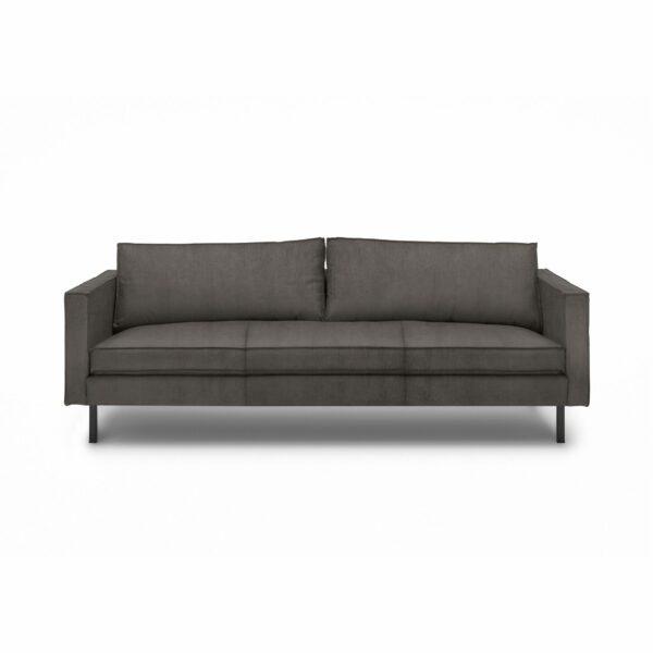 """WK Wohnen Edition """"6001"""" Sofa mit Bezug Textilgewebe Velvet in der Farbe Anthrazit in frontaler Ansicht."""
