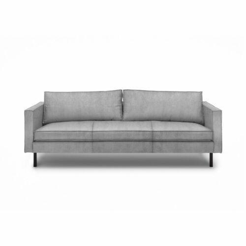 """WK Wohnen Edition """"6001"""" Sofa mit Bezug Textilgewebe Velvet in der Farbe Dolphine in frontaler Ansicht."""