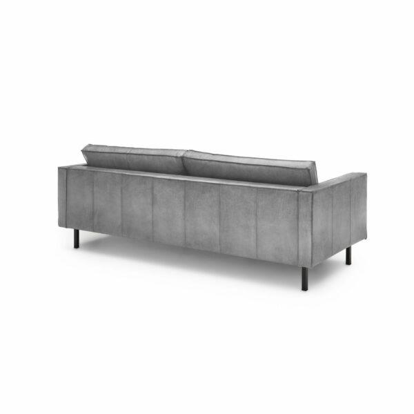 """WK Wohnen Edition """"6001"""" Sofa mit Bezug Textilgewebe Velvet in der Farbe Dolphine in Rückansicht."""