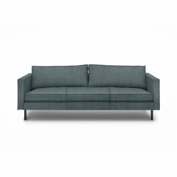 """WK Wohnen Edition """"6001"""" Sofa mit Bezug Textilgewebe Velvet in der Farbe Petrol in frontaler Ansicht."""