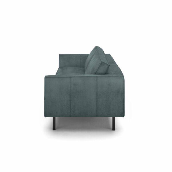 """WK Wohnen Edition """"6001"""" Sofa mit Bezug Textilgewebe Velvet in der Farbe Petrol von der Seite."""
