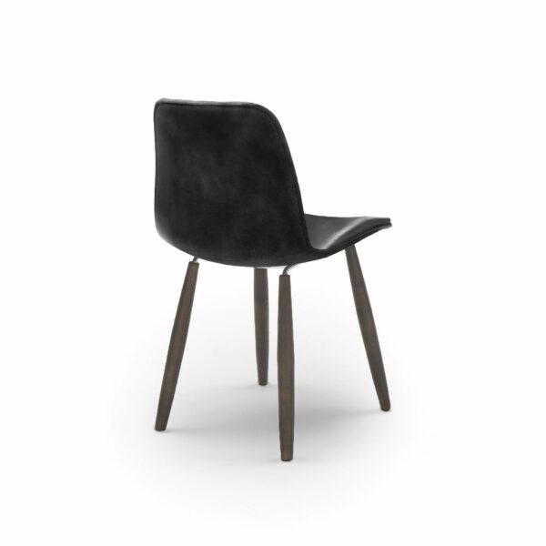 """WK Wohnen Edition """"7001"""" Esszimmerstuhl mit Bezug Leder Buffalo glänzend in der Farbe Black in Rückansicht."""