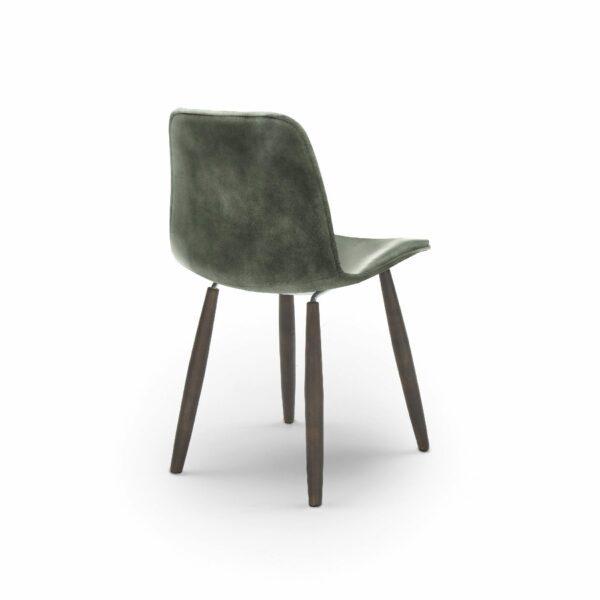 """WK Wohnen Edition """"7001"""" Esszimmerstuhl mit Bezug Leder Buffalo glänzend in der Farbe British Green in Rückansicht."""