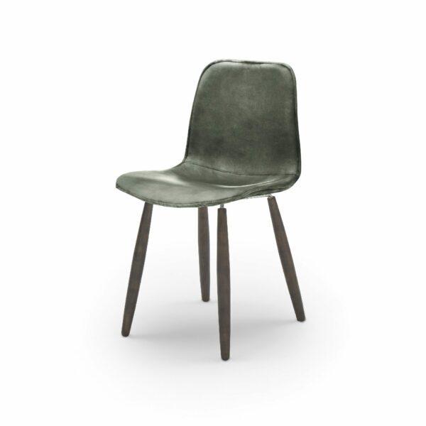 """WK Wohnen Edition """"7001"""" Esszimmerstuhl mit Bezug Leder Buffalo glänzend in der Farbe British Green in seitlicher Ansicht."""