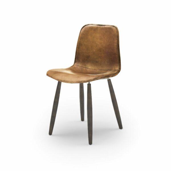 """WK Wohnen Edition """"7001"""" Esszimmerstuhl mit Bezug Leder Buffalo glänzend in der Farbe Light Brown in seitlicher Ansicht."""