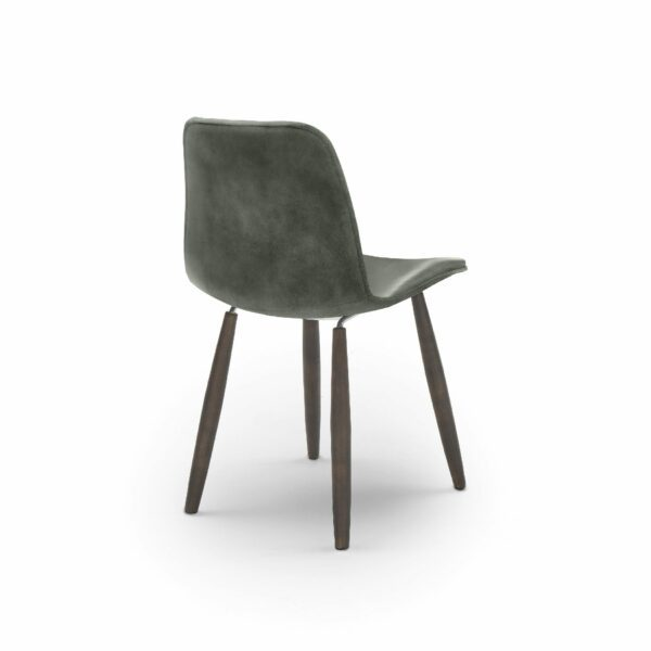 """WK Wohnen Edition """"7001"""" Esszimmerstuhl mit Bezug Leder Buffalo matt in der Farbe British Green in Rückansicht."""