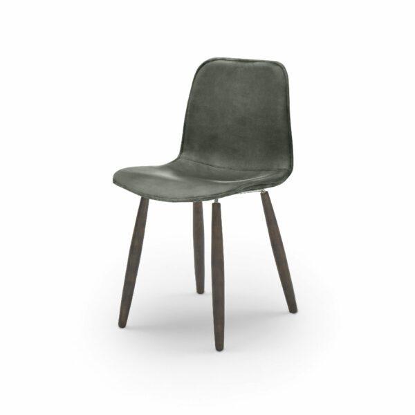 """WK Wohnen Edition """"7001"""" Esszimmerstuhl mit Bezug Leder Buffalo matt in der Farbe British Green in seitlicher Ansicht."""