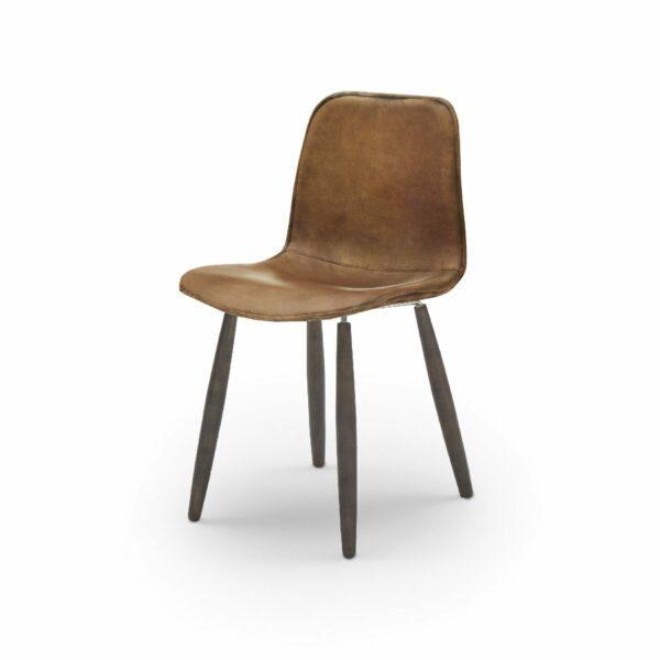 """WK Wohnen Edition """"7001"""" Esszimmerstuhl mit Bezug Leder Buffalo matt in der Farbe Light Brown in seitlicher Ansicht."""