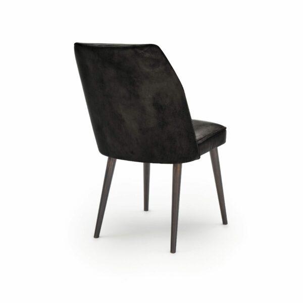 """WK Wohnen Edition """"7006"""" Esszimmerstuhl mit Bezug Leder Buffalo glänzend in der Farbe Black in Rückansicht."""