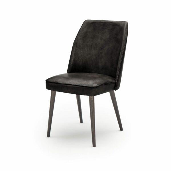 """WK Wohnen Edition """"7006"""" Esszimmerstuhl mit Bezug Leder Buffalo glänzend in der Farbe Black in seitlicher Ansicht."""