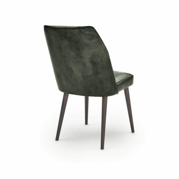 """WK Wohnen Edition """"7006"""" Esszimmerstuhl mit Bezug Leder Buffalo glänzend in der Farbe British Green in Rückansicht."""