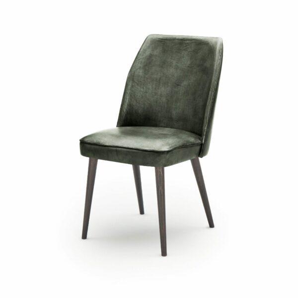 """WK Wohnen Edition """"7006"""" Esszimmerstuhl mit Bezug Leder Buffalo glänzend in der Farbe British Green in seitlicher Ansicht."""