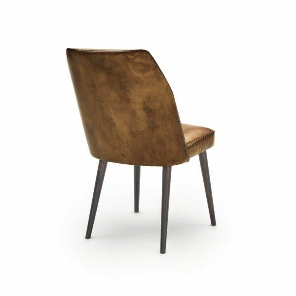 """WK Wohnen Edition """"7006"""" Esszimmerstuhl mit Bezug Leder Buffalo glänzend in der Farbe Light Brown in Rückansicht."""