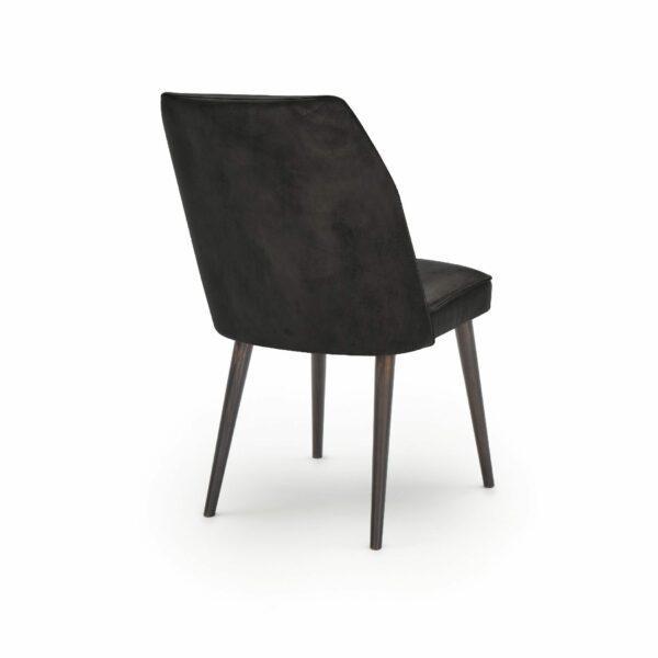 """WK Wohnen Edition """"7006"""" Esszimmerstuhl mit Bezug Leder Buffalo matt in der Farbe Black in Rückansicht."""