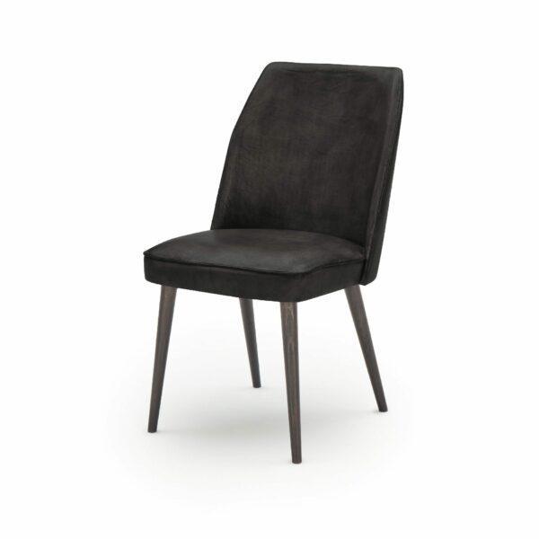 """WK Wohnen Edition """"7006"""" Esszimmerstuhl mit Bezug Leder Buffalo matt in der Farbe Black in seitlicher Ansicht."""