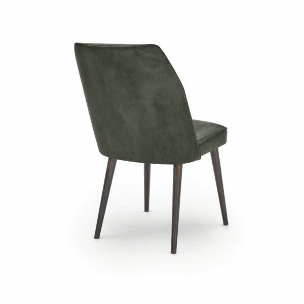 """WK Wohnen Edition """"7006"""" Esszimmerstuhl mit Bezug Leder Buffalo matt in der Farbe British Green in Rückansicht."""