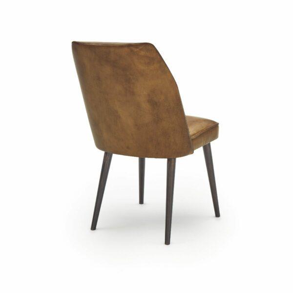 """WK Wohnen Edition """"7006"""" Esszimmerstuhl mit Bezug Leder Buffalo matt in der Farbe Light Brown in Rückansicht."""