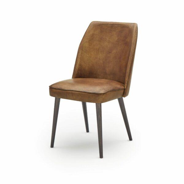 """WK Wohnen Edition """"7006"""" Esszimmerstuhl mit Bezug Leder Buffalo matt in der Farbe Light Brown in seitlicher Ansicht."""